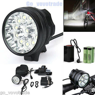 30000LM CREE 12x CREE XM-L T6 LED Headlight Bike Bicycle Waterproof Light Lamp