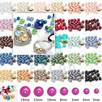 110pcs 8mm Glass Pearl Round Spacer Loose Beads 30 Colors Wholesale GP0003