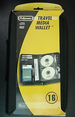 Fellowes Travel Media CD DVD Wallet Case for up tp 16 CD's ID Keys Phone  NEW