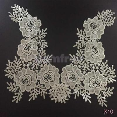 10 Pairs Applique Lace Embroidered Venise Floral Trim Sew On Neckline Collar