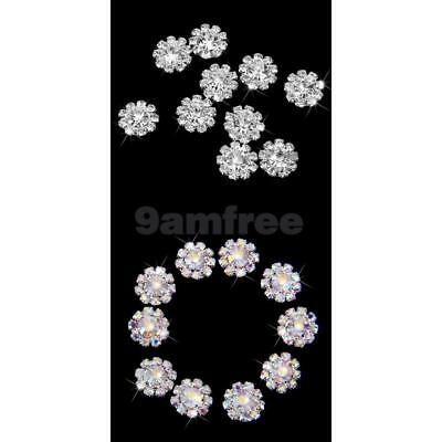 20x Crystal Flower Beads Flatback Scrapbooking Craft Embellishment DIY 12mm