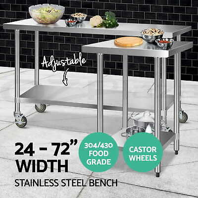 Cefito 304/430 Stainless Steel Kitchen Benches Work Bench Food Prep Table Wheels