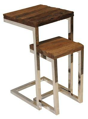 Nest of Two Side Tables - Reclaimed Wood Railway Sleepers - Stainless Steel Base