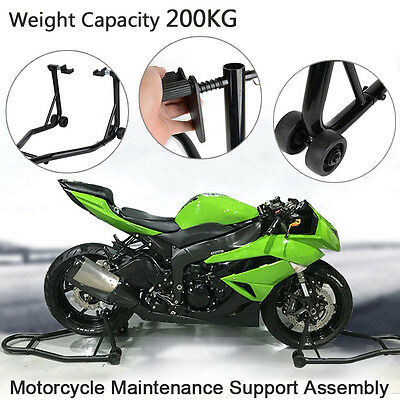 2pcs Motorcycle Stands Front & Rear Race Motorbike Lift Paddock Heavy Duty Steel