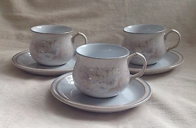 3 X Beautiful Denby Tasmin Cups & Saucers Excellent Condition 1St Quality