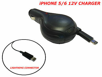 12V Charger iPhone 5/6, iPad, iPod, In Car: RETRACTABLE LIGHTNING CONNECTOR LEAD