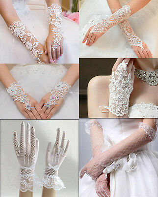 FREE SHIPPING NEW Ivory/White Tulle Lace Wedding Prom dress Bridal Gloves STOCK