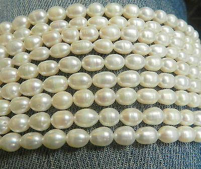 7-8mm White Freshwater Pearl Rice Beads String 15inchs