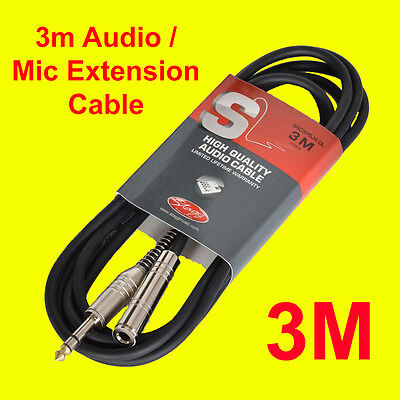 Stagg SAC3PSJSDL Audio/Mic Extension Cable 6mm Male to Female - 3 Meter