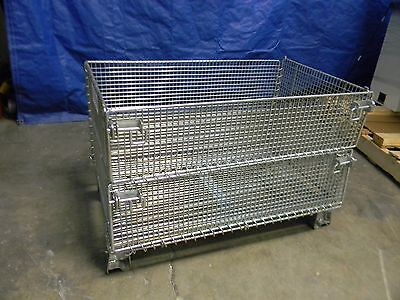 "#09132234 Steel 20"" x 32"" x 16"" Welded Wire Folding Container 1000lbs. Load Cap."