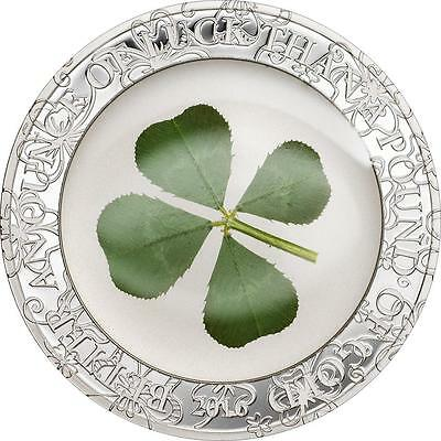 Palau 2016 $5 Ounce of Luck Clover 1 Oz Proof Silver Coin with Real Clover Leaf