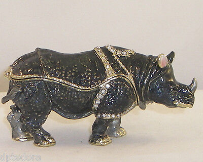 Treasures Rhino Pewter Bejeweled Hinged Trinket / Jewelry /  Pill Box