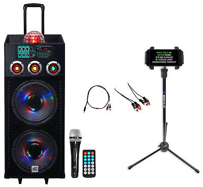 """NYC Acoustics Dual 12"""" Karaoke Machine/System 4 ipad/iphone/Android/Tablet/TV"""