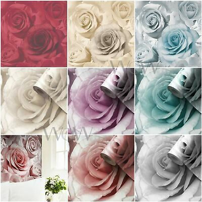 Madison Rose Wallpaper Muriva Available In Green & Natural Feature Wall Free P+P