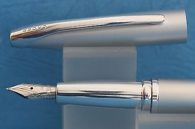 Cross ATX Satin Silver Medium Fountain Pen with Chrome Trim, Cased, Ink