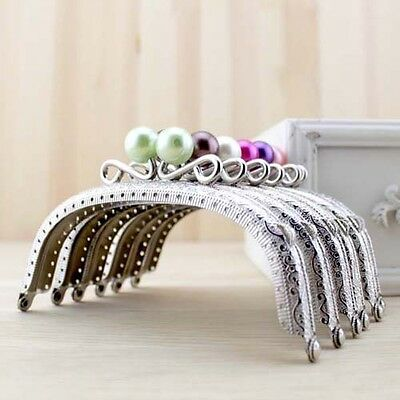 Silver Candy Bead Metal Frame Kiss Clasp For Handle Bag Purse 12.5CM/4.92inch
