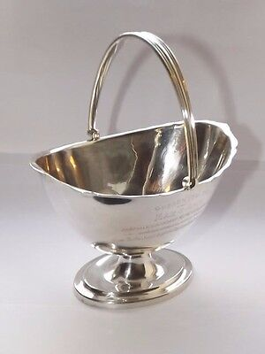 ANTIQUE SOLID SILVER STERLING 195g SWING HANDLE BOWL JUDAICA SHEFFIELD 1919