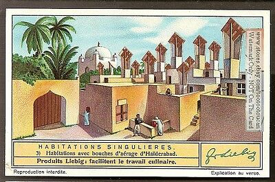 Houses with Air Ventilation Holes India Architecture 1930s Trade Card