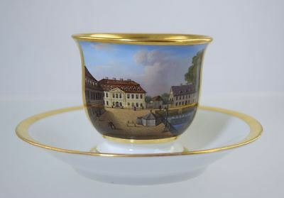 Mid 19thC KPM BERLIN PORCELAIN TOPOGRAPHICAL CUP & SAUCER SCENIC ANTIQUE