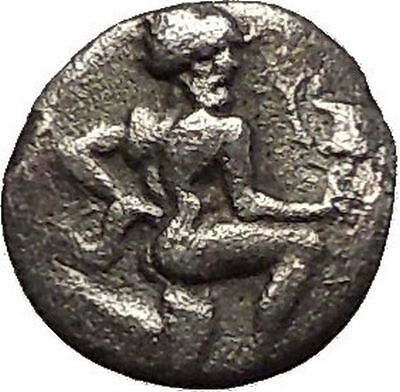 THASOS Thrace Island 404BC Nude Satyr Silenos Wine CUP Silver Greek Coin i57627