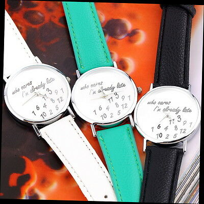 New Fashion Luxury Womens Mens Wrist Watches PU Leather Band Funny Cute SN