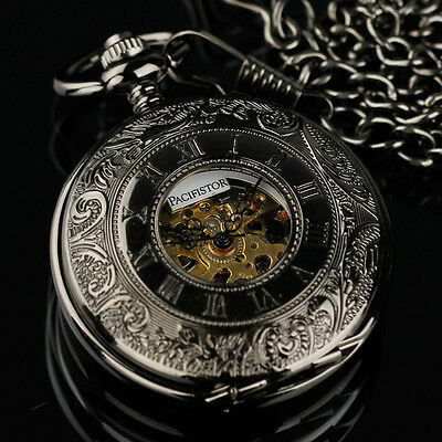 PACIFISTOR Skeleton Mechanical Pocket Watch Retro Vintage Stainless Steel Chain