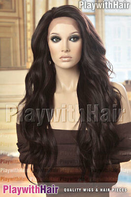 GORGEOUS Tousled Wig LACE FRONT Heat Friendly Darkest Brown