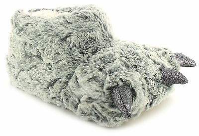 New Ladies/Womens Grey Claw Cosy Plush Faux Fur Upper Novelty Slippers UK SIZES