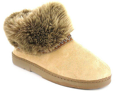New Womens/Ladies Beige Strollers Ankle Bootee Slippers. UK SIZES