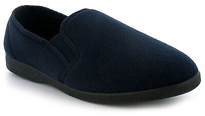 New Mens/Gents Navy Fleece Upper Twin Gusset Fleece Slippers. UK SIZES