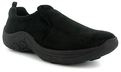 New Mens/Gents Black Twin Gusset Slip On Casual Shoes. Wider Fitting. UK SIZES