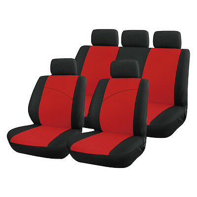 Red and Black, Front & Rear Car Seat Covers: Soft Plush Velour (8 Piece)