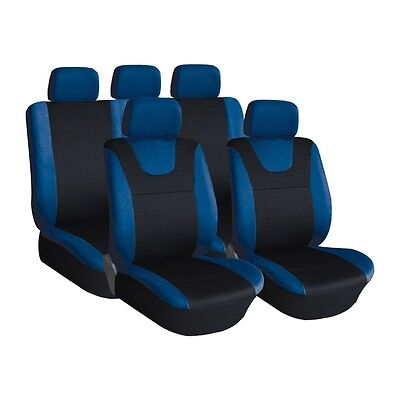 Blue and Grey, Prestige, Car Seat Covers, Front & Rear: Plush Velour (8 Piece)