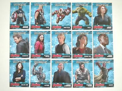 2015 Upper Deck Avengers Age of Ultron Character Shots 15 Cards Complete Set