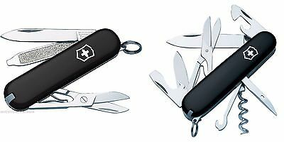 New Victorinox Swiss Army 91mm Knife   BLACK CLIMBER & CLASSIC SD in Boxes