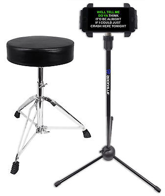 Rockville RDS30 Thick Padded Adjustable Foldable Drum Throne Stool + lPad Stand