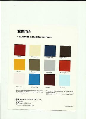 Reliant Scimitar Exterior Body Colours Car Sales 'brochure' Sheet February 1980