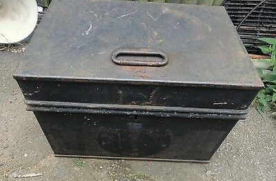 Antique Milners Floor Safe Strong Box Coffee Table Storage Chest Trunk