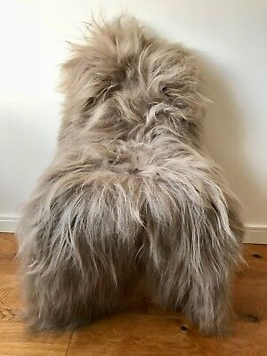 XXL Large Taupe/Cacao Brown Genuine Icelandic Sheepskin Sheep Long Soft Fur Rug