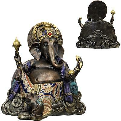 Resting Ganesha Statue with Fabric Accent!