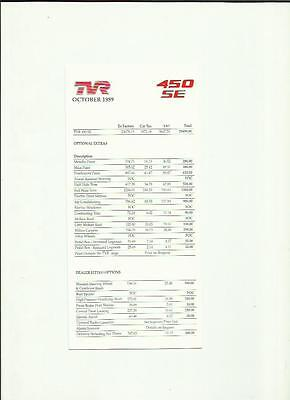 Tvr '450 Se' Price List Sheet  'brochure' + Extras And Options October 1989