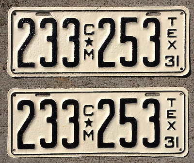 1931 Texas truck commercial license plate pair 233 253 YOM DMV clear Ford Dodge