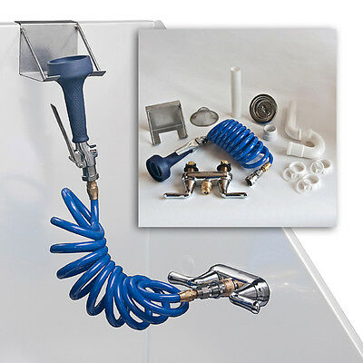 Pro Groomer's Complete Tub Plumbing Kit Faucet Coiled Hose and Full Spray Head