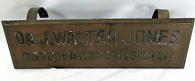 Brass Advertising Sign J. Walter Jones Osteopathic Physician Abele Samuel Yellin