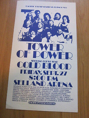 TOWER OF POWER Cold Blood Fresno concert poster 1970s