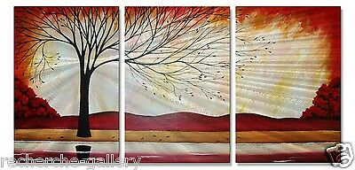 Metal Artwork Contemporary Home Decor Abstract Wall Sculpture Windy Red River