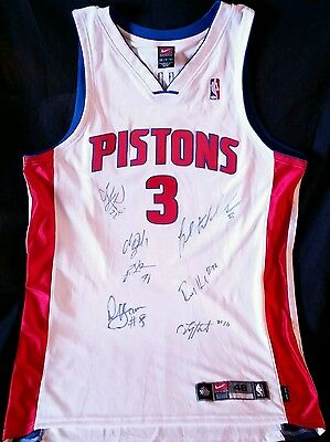 2004 NBA CHAMPIONS Detroit Pistons Team SIGNED JERSEY Prince Billups Ben Wallace