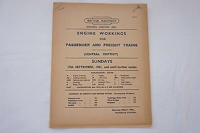 1961 Engine Workings Southern Region Central District Passenger & Freight