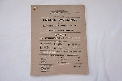 1963 Engine Workings Southern Region South Western Division Passenger & Freight