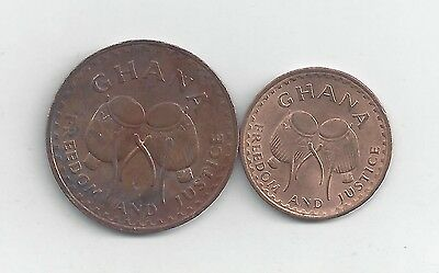 2 DIFFERENT COINS from GHANA - 1/2 & 1 PESEWA (BOTH DATING 1967)